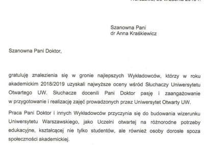 Wyróżnienie dla najlepszych wykładowców Anna Kraśkiewicz-Wasiluk