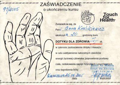Dyplom Dotyk dla Zdrowia