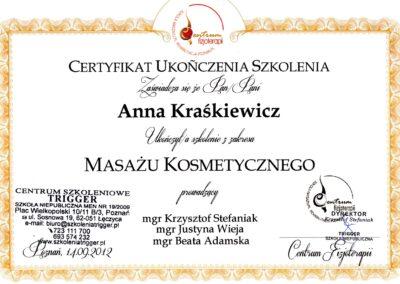 Dyplom masaż kosmetyczny